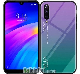 Чехол TPU Gradient HELLO Glass для Xiaomi Mi9 SE Голубой