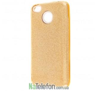 Чехол Silicone 3in1 Блёстки для Xiaomi Redmi 4x Gold