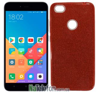 Чехол Silicone 3in1 Блёстки для Xiaomi Redmi Note 5a Prime Red