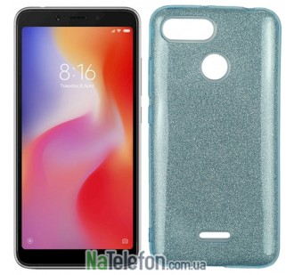 Чехол Silicone 3in1 Блёстки для Xiaomi Redmi 6 Blue