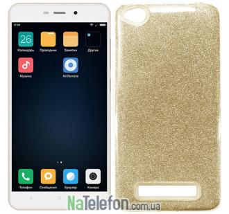 Силиконовый чехол Silicone 3in1 Блёстки для Xiaomi Redmi 4a Gold