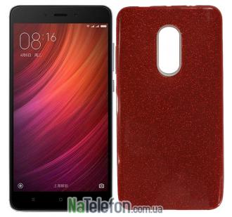 Чехол Silicone 3in1 Блёстки для Xiaomi RedMi Note 4x Red