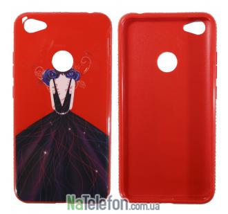 TPU чехол Magic Girl со стразами для Xiaomi Redmi Note 5A Prime / Redmi Y1 (Красный / Синяя роза)