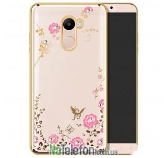 Чехол силиконовый Diamond Flower для Xiaomi RedMi 4 (золотой)