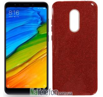 Чехол Silicone 3in1 Блёстки для Xiaomi Redmi 5 Plus Red