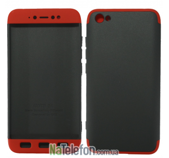Пластиковая накладка LikGus 360 градусов для Xiaomi Redmi Note 5A / Redmi Y1 Lite (Черный / Красный)
