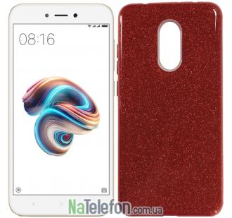 Чехол Silicone 3in1 Блёстки для Xiaomi Redmi 5 Red