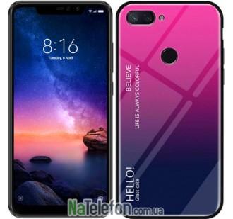 Чехол TPU Gradient HELLO Glass для Xiaomi Mi8 Lite Розовый