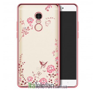 Чехол Flowers diamonds TPU для Xiaomi Redmi Note 4