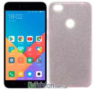 Чехол Silicone 3in1 Блёстки для Xiaomi Redmi Note 5a Prime Pink