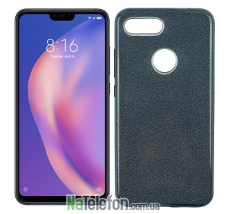 Силиконовый чехол Silicone 3in1 Блёстки для Xiaomi Mi8 Lite Black