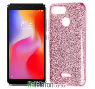 Чехол Silicone 3in1 Блёстки для Xiaomi Redmi 6 Pink