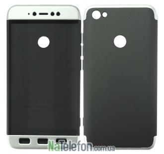Пластиковая накладка LikGus 360 градусов для Xiaomi Redmi Note 5A / Redmi Y1 Lite (Черный / Серебряный)
