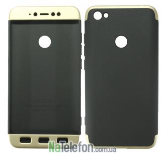 Пластиковая накладка LikGus 360 градусов для Xiaomi Redmi Note 5A Prime / Redmi Y1 (Черный / Золотой)