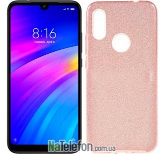 Чехол Silicone 3in1 Блёстки для Xiaomi Redmi 7 Pink