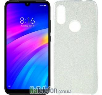 Чехол Silicone 3in1 Блёстки для Xiaomi Redmi 7 Silver