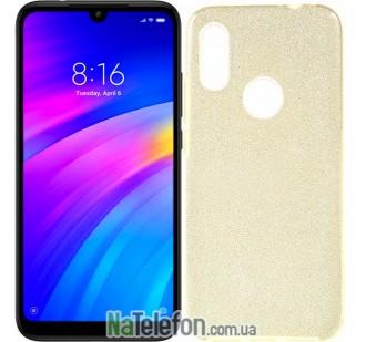 Чехол Silicone 3in1 Блёстки для Xiaomi Redmi 7 Gold