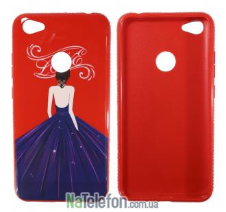 Чехол TPU Magic Girl со стразами для Xiaomi Redmi Note 5A Prime / Redmi Y1 (Красный / Love)