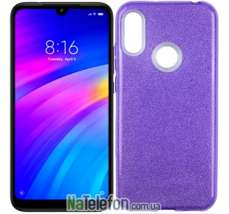 Чехол Silicone 3in1 Блёстки для Xiaomi Redmi 7 Violet