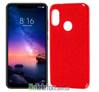 Чехол Silicone 3in1 Блёстки для Xiaomi Redmi 6 Pro/Mi A2 Lite Red