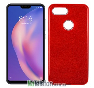 Чехол Silicone 3in1 Блёстки для Xiaomi Mi8 Lite Red