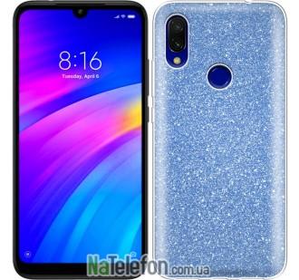 Чехол Silicone 3in1 Блёстки для Xiaomi Redmi 7 Blue