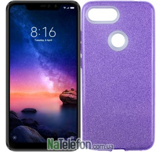 Чехол Silicone 3in1 Блёстки для Xiaomi Mi8 Lite Violet
