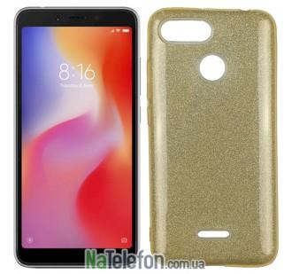 Чехол Silicone 3in1 Блёстки для Xiaomi Redmi 6 Gold