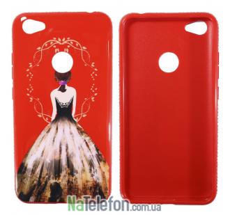 Чехол TPU Magic Girl со стразами для Xiaomi Redmi Note 5A Prime / Redmi Y1 (Красный / Узор лепестки)