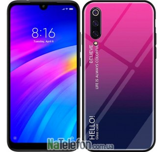 Чехол TPU Gradient HELLO Glass для Xiaomi Mi9 SE Розовый
