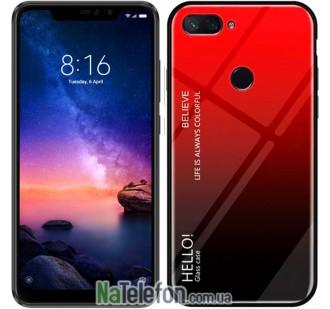 Чехол TPU Gradient HELLO Glass для Xiaomi Mi8 Lite Красный