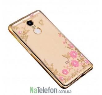 Прозрачный чехол с цветами и стразами для Xiaomi Redmi Note 4 с глянцевым бампером (Золотой/Розовые цветы)