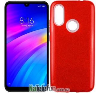Чехол Silicone 3in1 Блёстки для Xiaomi Redmi 7 Red