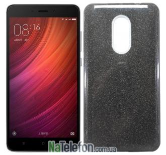 Силиконовый чехол Silicone 3in1 Блёстки для Xiaomi RedMi Note 4x Black