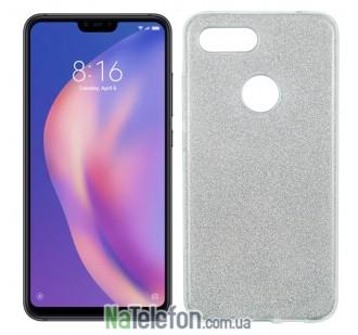 Чехол Silicone 3in1 Блёстки для Xiaomi Mi8 Lite White