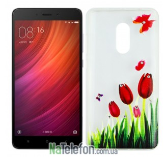 Чехол Lucent Diamond для Xiaomi Redmi Note 4 Tulips (Red)
