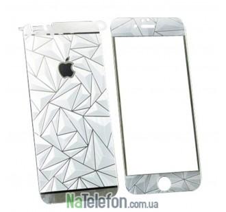 Защитное стекло для APPLE iPhone 6/6S призма серебристое (0.3 мм, 2.5D) комплект 2 шт.