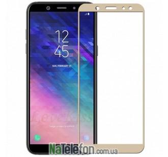 Защитное стекло для SAMSUNG A605 Galaxy A6 Plus (2018) (0.3 мм, 2.5D, с золотистым Silk Screen покрытием)