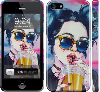 Чехол на iPhone 5 Арт-девушка в очках