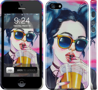 Чехол на iPhone SE Арт-девушка в очках