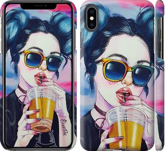 Чехол на iPhone XS Max Арт-девушка в очках