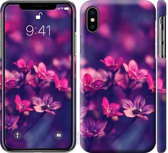 Чехол на iPhone X Пурпурные цветы