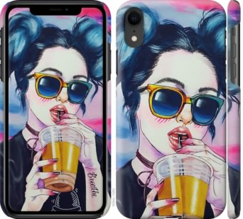 Чехол на iPhone XR Арт-девушка в очках
