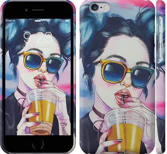 Чехол на iPhone 6 Арт-девушка в очках