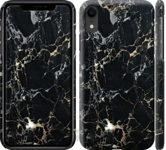 Чехол на iPhone XR Черный мрамор