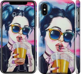 Чехол на iPhone X Арт-девушка в очках