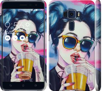 Чехол на Asus Zenfone 3 ZE520KL Арт-девушка в очках