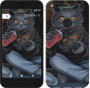 Чехол на Google PixeL 2 XL gamer cat