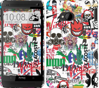 Чехол на HTC One M7 Many different logos