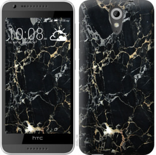 Чехол на HTC Desire 620G Черный мрамор